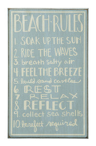 Beach Rules Wood Sign - By the Sea Beach Decor