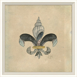 Seashell Fleur De Lis 1 Artwork Print - By the Sea Beach Decor