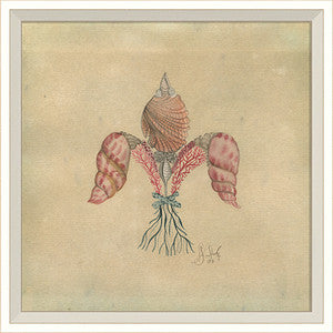 Seashell Fleur De Lis 2 Artwork Print - By the Sea Beach Decor