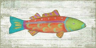 Funky Orange Fish Wooden Coastal Artwork Print