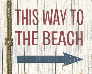 This Way to the Beach Rope Wood Print - By the Sea Beach Decor