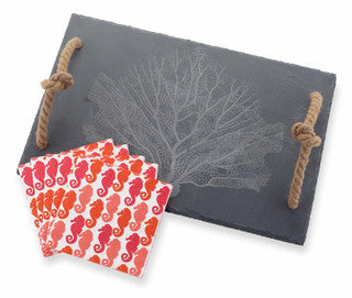 Fan Coral Slate Cutting Board Set - By the Sea Beach Decor
