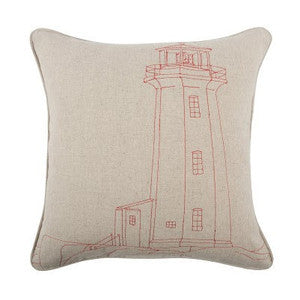 Old Barney Lighthouse Embroidered Pillow - By the Sea Beach Decor