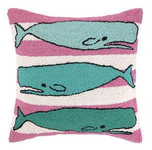 Three Whales Hook Pillow - By the Sea Beach Decor