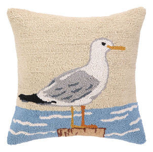 Seagull & Ocean Coastal Throw Pillow