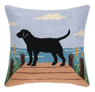 Rover Island Black Lab on the Dock Pillow - By the Sea Beach Decor