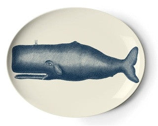 Scrimshaw Whale Serving Tray - By the Sea Beach Decor
