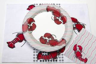 Lobster Wave Dinner Plate - By the Sea Beach Decor