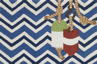Coastal Throw Rug Chevron & Buoys