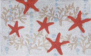 Starfish & Ocean Coral Coastal Throw Rug