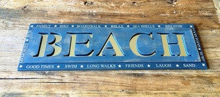 BEACH Mirror Sign - By the Sea Beach Decor