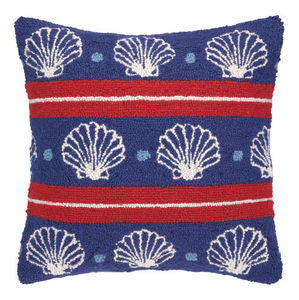 Salt Point Seashells on Blue Hook Pillow - By the Sea Beach Decor