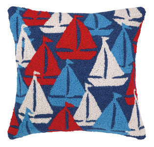 Sailboats Away Hook Nautical Pillow