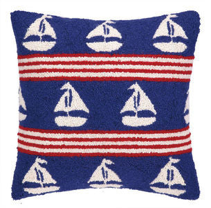 Salt Point Sailboats on Blue Hook Pillow - By the Sea Beach Decor