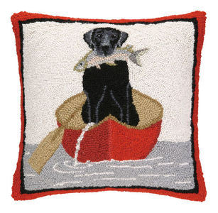Rover Island Black Lab Fishing Hook Pillow - By the Sea Beach Decor