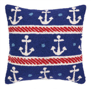 Salt Point Anchors on Blue Hook Pillow - By the Sea Beach Decor