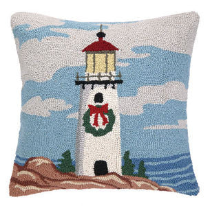Lighthouse Holiday Coastal Christmas Pillow