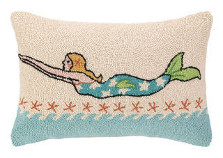 Swimming Mermaid Blonde Coastal Throw Pillow