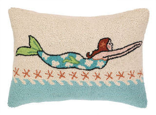 Swimming Mermaid Brunette Coastal Throw Pillow