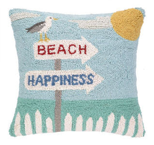 Beach Happiness Coastal Decor Hook Pillow