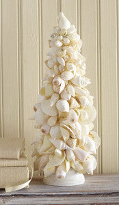 Mixed Shell Topiary Tree Beach Decor Accent