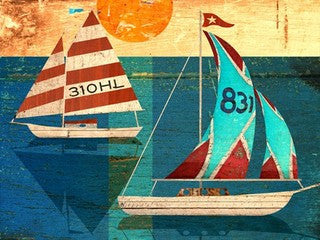 Sailing Wood Print - By the Sea Beach Decor