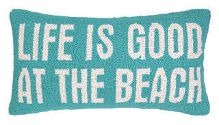 Life is Good at the Beach Hook Pillow - By the Sea Beach Decor