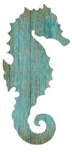Aqua Seahorse Left Silhouette Wood Cutout - By the Sea Beach Decor