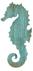 Aqua Seahorse Right Silhouette Wood Cutout - By the Sea Beach Decor