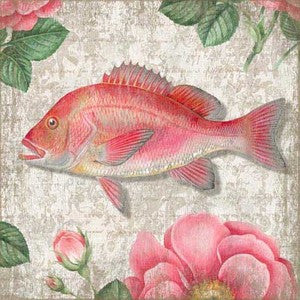Snapper Pink Wooden Artwork Print - By the Sea Beach Decor