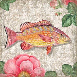 Snapper Yellow Wooden Artwork Print - By the Sea Beach Decor