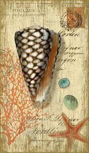 Beach Wall Decor Cone Shell Wooden Artwork Print