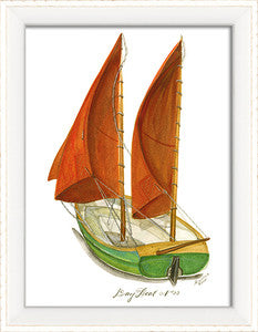 Dayboat 3 Framed Art - By the Sea Beach Decor