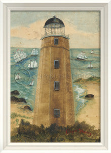 Lighthouse Cape Henry Framed Art - By the Sea Beach Decor