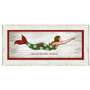 Holiday Mermaid Giclee Framed Art - By the Sea Beach Decor