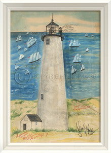 Lighthouse Great Point Nantucket Framed Art - By the Sea Beach Decor