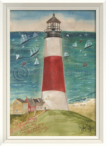 Lighthouse Sankaty Nantucket Artwork Print - By the Sea Beach Decor