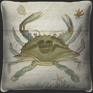 Neptune Crab Print Pillow - By the Sea Beach Decor