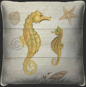 Seahorse Print Coastal Decor Pillow