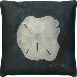 Neptune Sand Dollar Print Pillow - By the Sea Beach Decor