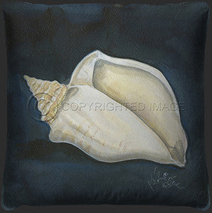 Conch Shell Print Coastal Decor Pillow