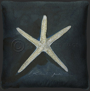 Neptune Starfish Print Pillow - By the Sea Beach Decor