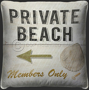 Private Beach Print Pillow