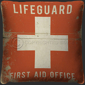 Lifeguard Print Coastal Decor Pillow