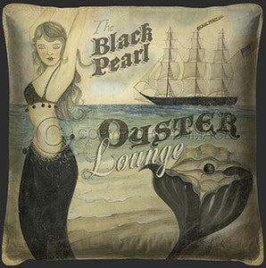 Black Pearl Oyster Lounge Print Pillow