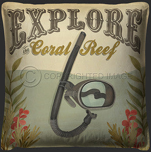 Explore the Coral Reef Print Pillow