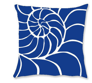 Navy Nautilus Coastal Decor Pillow