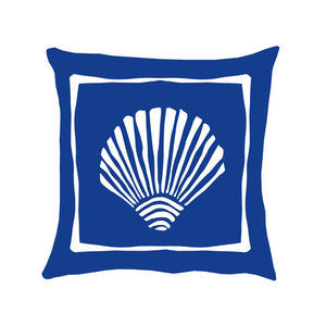 Navy Scallop Shell Coastal Decor Pillow