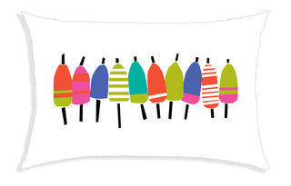 Colorful Buoy Line Pillow - By the Sea Beach Decor