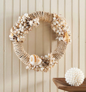 Rope & Shell Coastal Decor Wreath - By the Sea Beach Decor